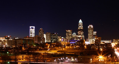 Charlotte NC at night. The skyline has seen the addition of new buildings like the beautiful Duke Tower to the left.